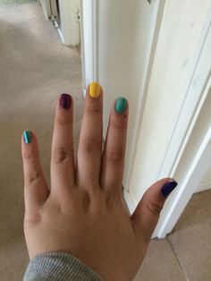 Colourful nails ideal for a disco or party