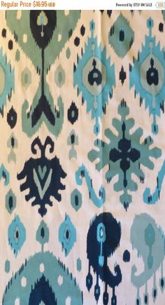 50% OFF SALE IKAT Fabric, Dear Stella 116 in Teal, By the Yard, 44/45 inches Wide, Home Decor Fabric, Decorating Fabric