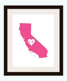 California State Love Map Silhouette 8x10 by AsYouWishPrinting, $16.50