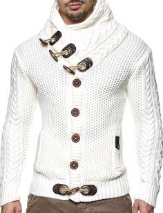 LEIF NELSON Men's Knitted Jacket Cardigan Medium White