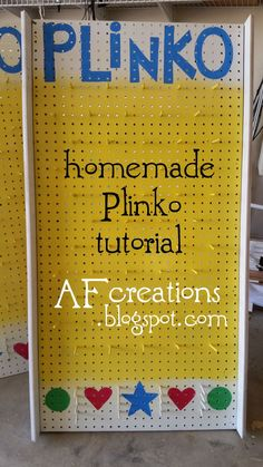 I couldnt find a good tutorial online, so I thought Id share how I made my Plinko boards: SUPPLIES I USED Peg board dowels wood for. Plinko Board, Plinko Game, School Carnival, Halloween Games, Halloween Party, Backyard Games, Outdoor Games, Diy Games, Party