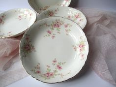 Vintage WS George Pink Green Floral Soup Bowls Set by thechinagirl
