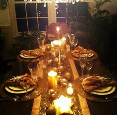 gold Christmas table decor love the runner candles and ornaments