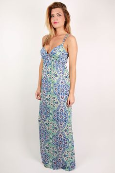 Show off your bronzed and beautiful skin in this lovely maxi! The gorgeous color and fun pattern make it so fun for sunny days! Pair it with your favorite wedges or sandals, then all you need is a glam necklace for a fabulous look for summer!