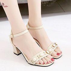 RUGAI-UE La mode des femmes d'été confortables sandales hauts talons,35 black