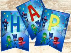 PJ MASKS Birthday Banner-Pj Masks Printable Banner-Pj Masks Banner-DIY-Pj Masks…