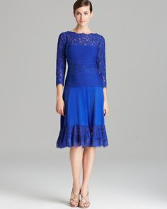 Tadashi Shoji Blue Dress Three Quarter Sleeve Lace Flounce