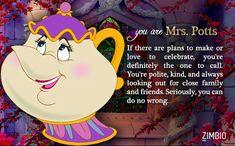 I took Zimbio's 'Beauty and the Beast' quiz and I'm Mrs. Potts! Who are you? #ZimbioQuiz