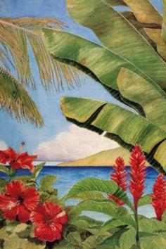 Tropical Horizons II :: Tropical paintings in watercolor, oil and acrylic by Penny Gupton Tropical Art, Tropical Flowers, Tropical Paintings, Tropical Paradise, Painting & Drawing, Watercolor Paintings, Posca Art, Caribbean Art, Hawaiian Art