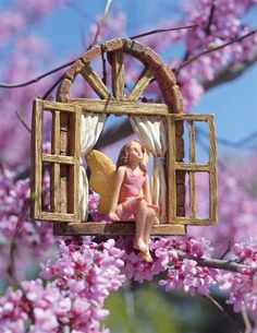 Stargazer Garden Ornament - Fairy Sitting in Window - Fairy Garden Decor Victorian Trading Company, Fairy Garden Houses, Flower Fairies, Miniature Fairy Gardens, Garden Ornaments, Fairy Land, Growing Herbs, Stargazing, Backyard Landscaping