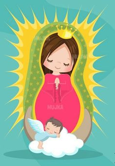 Virgen de Guadalupe version Mujka. Praying The Rosary Catholic, Catholic Religious Education, Catholic Art, Catholic Saints, Church Pictures, Cute Pictures, Virgin Mary Art, Garden Mural, Mama Mary