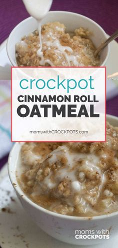 If you love Cinnamon Rolls this is the next best thing! You have to try this AMAZING Crockpot Cinnamon Roll Oatmeal Recipe! If you love Cinnamon Rolls this is the next best thing! You have to try this AMAZING Crockpot Cinnamon Roll Oatmeal Recipe! Brunch Recipes, Gourmet Recipes, Breakfast Recipes, Dinner Recipes, Cooking Recipes, Healthy Recipes, Breakfast Ideas, Healthy Food, Breakfast Time