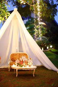 Photobooth idea for English country garden wedding or rustic garden weddings. Vintage style sofa with canopy. By Jing Tanada at Ville Sommet, Tagaytay.