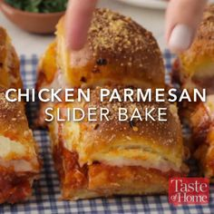 Chicken Parmesan Slider Bake Recipe Sliders are the perfect finger food for any get-together, and this flavorful chicken Parmesan version won't disappoint. —Nick Iverson, Denver, Colorado Appetizer Recipes, Dinner Recipes, Meat Appetizers, Freezable Appetizers, Easy Recipes, Freezable Meals, Brunch Recipes, Fun Sandwich Recipes, Gif Recipes