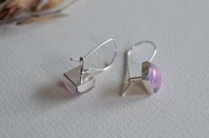 Orecchini pendenti in vetro rosa 925 argento