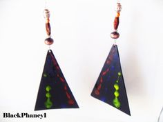 HandCarved Large Black Earrings  LightWeight Blue by BlackPhancy1