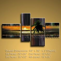 Peaceful Sunset Sea Shore Palm Tree Abstract Painting Canvas Art Modern 65 x 38 by Bo Yi Studio #1070