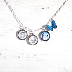 Jack Skellington & Sally With Quotes From The Nightmare Before Christmas Necklace with Butterfly - CLEARANCE SALE. €15.00, via Etsy.