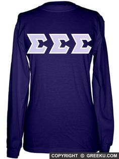 Sigma Sigma Sigma Regular Long Sleeve T-shirt with Letters