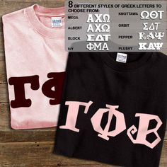 Gamma Phi Beta Sorority 2 Printed T-Shirts Pack $28.95