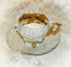 Your place to buy and sell all things handmade White Coffee Cups, Coffee Cups And Saucers, Tea Cup Saucer, Turkish Coffee Cups, Sweet Tea, China Porcelain, Tea Sets, White Gold, Tea Time