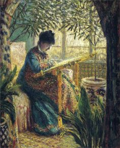 """ Madame Monet Embroidering (Camille au métier), Claude Monet (French, Oil on canvas. The Barnes Foundation. Camille Doncieux was the first wife of Claude Monet. She modeled for her husband on several. Claude Monet Pinturas, Artist Monet, Monet Paintings, Pierre Auguste Renoir, Edgar Degas, Camille Pissarro, Impressionist Paintings, Oil Painting Reproductions, Manet"