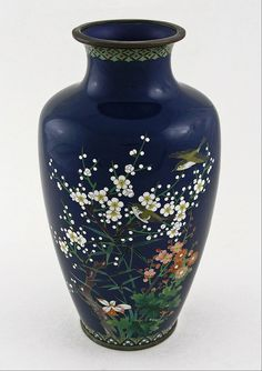 Japanese blue cloisonne vase in polychrome enamels - birds - Meiji Period