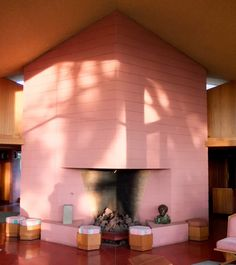 Fireplace - Albin House / 4260 Country Club Drive, Bakersfield, CA / 1958-1961 / Unsonian / Frank Lloyd Wright