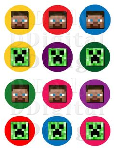 Minecraft Cake Toppers/ Cupcake Toppers/ Party Favors/ Printable Stickers/ AVERY Comp Creeper Steve INSTANT DOWNLOAD