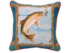 Hand Crafted Wool Fish Needlepoint Pillow by needlepointonline on Etsy