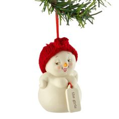 """""""The Girls"""" Snowmen with attitude! Snowpinions. Porcelain bisque ornaments and figures don hand-knit hats, earmuffs and/or scarves. Each delivers funny and sweet heartfelt sentiments to family and friends. Designed by Snowbabies artist Kristi Jensen Pierro."""
