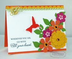 Hummingbird Flowers Card By Kendra Wietstock #Cardmaking, #Encoragement