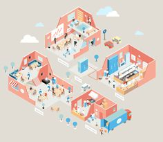 Illustrations for iiko on Behance isometric design Flat Illustration, Graphic Design Illustration, Watercolor Illustration, Digital Illustration, Isometric Map, Isometric Design, Urban Ideas, Architecture Graphics, Concept Diagram