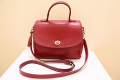 Vintage Coach Red Color Leather Purse // Cross Body by grassdoll