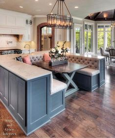 Dining table with bar stools on both sides