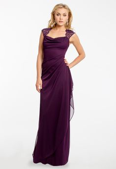 Long Mesh Dress with Lace Capped Sleeve available in Plus Size #camillelavie #CLVprom