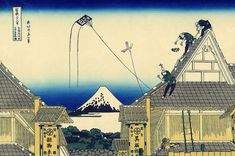 """A sketch of the Mitsui shop in Suruga in Edo"", - Thirty-six Views of Mount Fuji - No.11, by Hokusai (1760–1849)"