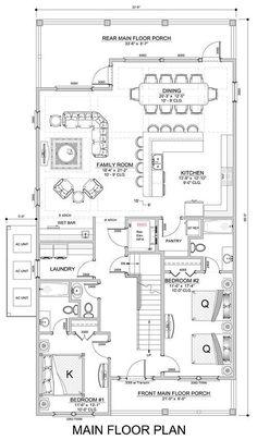 Colquitt Beach - Coastal Home Plans Dream House Plans, House Floor Plans, Kitchen Layout Plans, Southern House Plans, Bungalow House Design, Room Planning, House Layouts, Interior Design Studio, Pent House