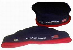 """Patriotic Beret is made out a durable Fleece material.  Comes assorted with """"United We Stand"""" or """"Proud to be an American"""" stitched on the front along with an American Flag and an Eagle.  The back of the """"United We Stand"""" beret has """"9/11"""" stitched.  Adjustable to fit men, women and children.  Each piece comes individually packaged and UPC coded. Only $0.65 each. #beret #fleece #America"""