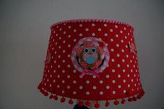 Lampenkap polkadot uil #zelfmaken #DIY #owl #rood met witte stippen #watdoetvanessanu