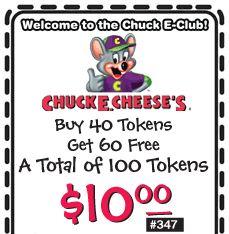 Chuck e cheese printable coupons 100 tokens for 10 dollars 2018