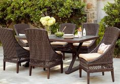 Zoom More  Views  Share  Email  Print  Hampton Bay Woodbury 7-Piece Patio Dining Set with Textured Sand Cushions    Model # D9127-7PC  Internet # 203469642  Store SKU # 385425    $999.00 / ST-Set