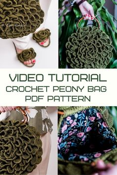 Video pattern Circle Flower crochet bag by IlovecreateStore. PDF pattern Round crochet bag Video tutorial crochet bag Polyester cord. This is a circle flower crochet bag PDF pattern with complete and detailed video-description of the whole handbag creating process. Skill level - easy/ medium. It will take 3-5 days to create it. The size of the bag will depend on the thickness of the cord and the density of your crocheting.