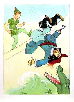 Peter Pan  Kicks Captain Hook  1957 Vintage Book Page