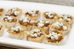 Caramelized onion, apple and bacon in phyllo cups with gorgonzola
