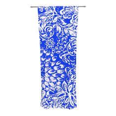 "Vikki Salmela ""Bloom Blue for You"" Decorative Sheer Curtain #blue #white #blossom #floral #ethnic #Bohemian #flowers #garden on #decorative #sheer #curtains for #home #living room #bedroom #fashion #decor by Vikki Salmela."