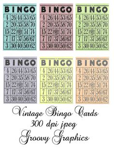 Vintage Bingo Cards in a variety of colors for your crafting needs. Great for altered art, card making, scrapbooking and more. Free Printable Bingo Cards, Printable Paper, Free Printables, Bingo Tickets, Bingo Games, Bingo Patterns, Atc Cards, Vintage Dollhouse, Free Prints