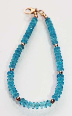 London Blue Topaz Bracelet with Rose Gold Filled Beads