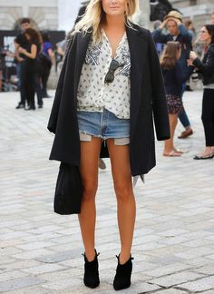 Black coat whites blouse blue denim shorts black shoes. Street fall spring women fashion outfit clothing style apparel @roressclothes closet ideas