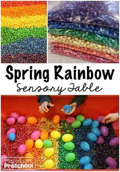 Spring Rainbow Sensory Table